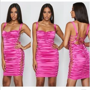 Neon pink satin ruched dress